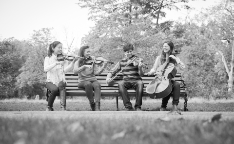 Members of the Palomino String Quartet performing on a bench in Hyde Park