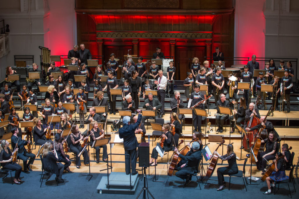 The combined London Chamber Orchestra and Music Junction participants taking applause at Cadogan Hall.